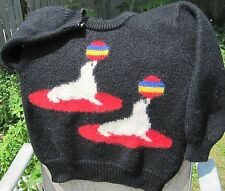 vintage SEAL rainbow Ball on nose AMAZING hipster UGLY SWEATER black Talbots