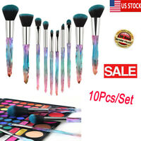 10Pcs Make Up Brushes Crystal Handle Lip Powder Foundation Pretty Blue Set