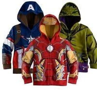 Boys Hoodie Jacket Fancy Captain America Ironman Hulk Kids Costume Kids Gift