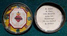 Antique TIN RELIQUARY BOX w/ MULTIPLE RELICS, AGNUS DEI & SACRED HEART OF JESUS