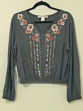 FOREVER 21-YOUTH IN REVOLT-WOMEN'S SIZE PL-GRAY W/FLORAL PRINT-TOP