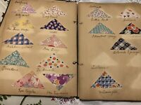 OOAK Vintage 1937 Handmade Scrapbook Of International Quilt Pieces Pre-WWII