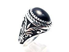 Handmade Modern Black Onyx 925 Sterling Silver Men's Turkish Ring 11 USA Seller