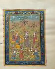 Persian Sultan Court Scene Handmade Shahkalam Style Painting On Old Paper