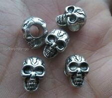 5pcs Antique Silver Charms Skull Beads 8X12mm Fit Bracelet hole 4.5MM