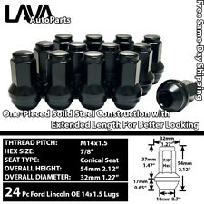 24 PCS 14X1.5 BLACK OE REPLACEMENT LUG NUTS FOR FORD LINCOLN STOCK WHEEL