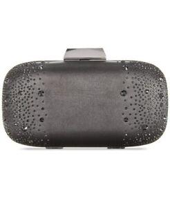 INC International Concepts Evie Embellished Satin Mini Clutch Bag, Black