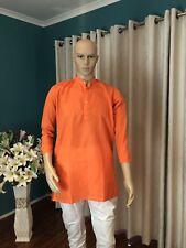 "42"" L Sherwani Suit Indian Bollywood Mens Kurtha Orange CottonOutfit Kurta KS19"