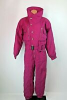 VTG Ossi skiwear 80s purple red violet Ski snow suit womens Sz 10 Belted 1pc