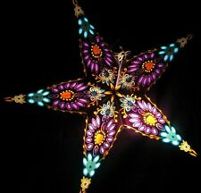 """24"""" Purple & Turquoise Paper Star Hanging Lantern Lamp( Light Cord Included )#37"""