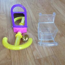2 Pack Seed Feeder & Pet Bird Toy Mirror Bell Perch (Budgie Canary Finch Caged)