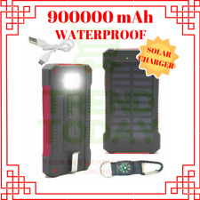 Waterproof 900000mAh Solar Power Bank External Battery Charger Phone Portable