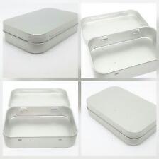 Hinged Tobacco Tin Silver 0.5oz 12.5g Metal Storage Pocket Cigarette Smoking Box