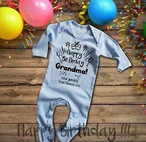 Custom Happy Birthday Grandma blue long sleeve baby grow rompersuit