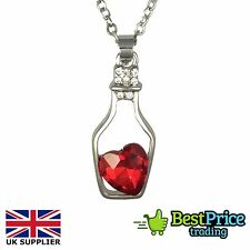 Ladies Fashion Love Drift Bottle Crystal Heart Necklace & Pendant NEW Women Gift