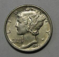 1940 Mercury Head Silver Dime Grading in the AU Range Nice Original Coins