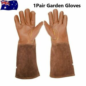 Gardening Gloves Forearm Protection Gauntlet Durable Cowhide Leather Work Gloves