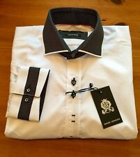 GUIDE London White Shirt. Black Micro Dot Collar. Medium. 15:5 Collar.BNWT. ACE
