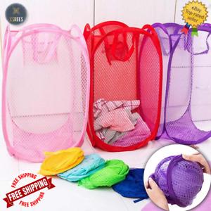 SMALL LAUNDRY BAG POP UP MESH WASHING FOLDABLE LAUNDRY BASKET BAG BIN HAMPER