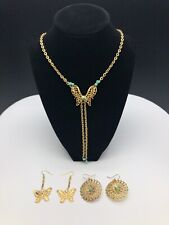 Teal Butterfly Necklace and Earring Set. One of a Kind Gold &