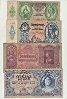 Hungary lot of 4 pcs 10, 20, 100, 500 Pengo 1930-1945 paper money banknote G