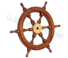 "18""Nautical Wooden Ship Wheel Pirate Decor Steering Wood Brass Fishing Wall Boat"