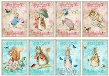 Peter Rabbit Pinks & Blues Glossy Finish Card Making Topper Crafts Embellishment