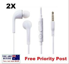 2 x 3.5mm Stereo In Ear Headphones Earphones Mic & Volume Control for SAMSUNG