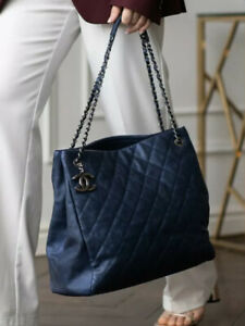 VERIFIED Authentic CHANEL Blue Quilted Caviar Leather Tote Bag