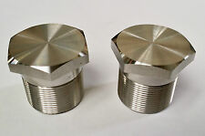 Norton Commando stainless steel fork leg top nuts / bolts (pair)