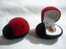Rhinestone Ruby Lady Bug Pendant Necklace W Red Velvet Lady Bug Gift Box