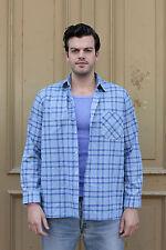 Welton Herren kariert Hemd Shirt blau L Kragenweite 41 80er True VINTAGE 80er