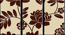 SPLIT CANVAS WALL ART FLORAL 3 PANEL  BROWN & CREAM A1+