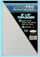 """5 Ultra Pro 6x9 TOPLOADERS NEW Photo Sports Card Collectible 6""""x9"""" Sleeves Rigid"""