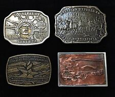 4 Vintage Belt Buckles Liberty - American Express - Vets Memorial - Copper Truck