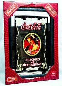 """Coca Cola, Werbespiegel in Kunststoffrahmen schwarz """"Delicious Refreshing"""""""