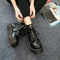 Ladies punk combat ankle top strappy flats shoes riding boots platform zipperV1