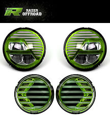 07-17 Jeep JK Wrangler Green LED Turn Signal+Headlight+Hi+Lo Beam+Running Light