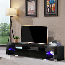 High Gloss Black TV Stand Unit Cabinet 2 Drawers Console Furniture w/LED Shelves