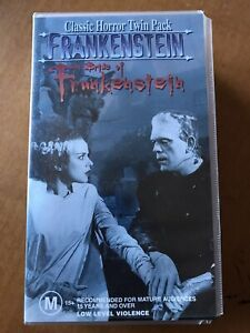 VHS Classic Horror Frankenstein and  Bride Of Frankenstein Twin Pack Video Tape