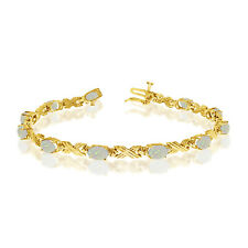 10K Yellow Gold Oval Opal Stones And Diamonds Tennis Bracelet, 7""