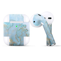 Skins Wraps compatible for Apple Airpods  Teal Blue Gold White Marble Granite