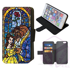 Disney STAINED GLASS BEAUTY & THE BEAST Belle Flip Phone Case iPhone Galaxy