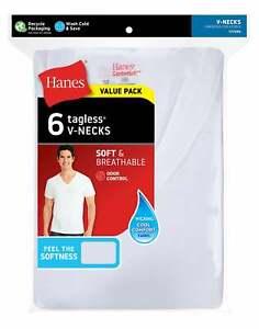 Hanes Men's FreshIQ Undershirt 6-Pack V-Neck Men's Shirts TAGLESS Comfort Soft