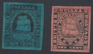 British Guiana 1853-59 proofs, trials or fantasies (2)