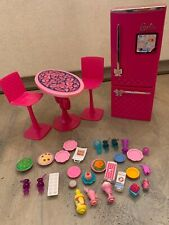 Barbie Doll Glam Refrigerator Dining Table Furniture Food Dishes Accessories