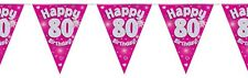 Pink Holographic Happy 80th Birthday Flag Bunting Decoration 12.8ft Long - New