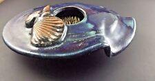 Colby Flower Frog Pottery Sea Shell Decorated Mid Century Modern Swirl Dish Vase
