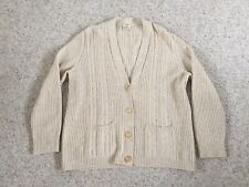 Vintage Celine 100% Cashmere Cardigan Sweater Size 48 Made in Italy Oatmeal Old!