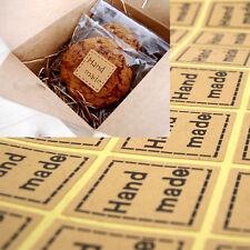 100x Vintage 'Hand Made' Seal Kraft Craft Paper Seal Stickers!  Cookies Cupake